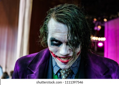 RUSSIA, ST.PETERSBURG - MAY 05, 2018: Epic Con 2018. Smiling Joker. Close-up. Character DC.