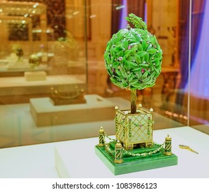 RUSSIA. St.Petersburg. Shot12/05/2017years. Photographer Andrey. The egg was created in 1911 by order of Nicholas.Now jewelry egg in the permanent exhibition of the Faberge Museum in St.Petersburg