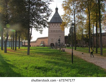Russia, Suzdal. Beautiful old monastery and park