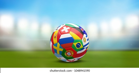 Russia, Switzerland, Brazil, Germany, Uruguay, Argentina, Nigeria, Australia, Croatia, Spain, spanish, France, french, Sweden, Portugal, portuguese, Costa Rica, England, flags, nations, 3d rendering,
