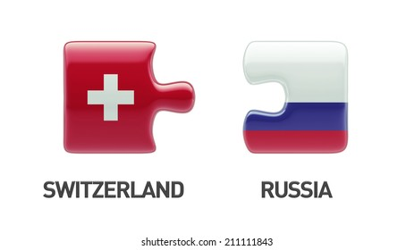 Russia Switzerland High Resolution Puzzle Concept