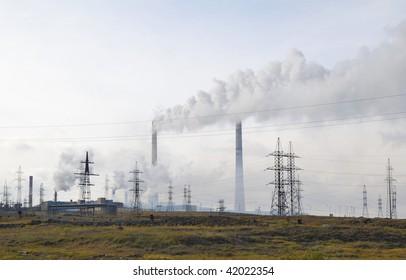 Russia. Taimyr. Norilsk. Ecological disaster. Nadezhdensky metallurgical works
