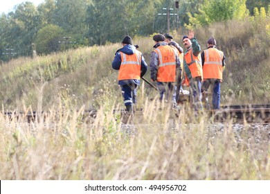 RUSSIA, TATARSTAN, BEGISHEVO - September 22, 2016. Men at work - railway repair
