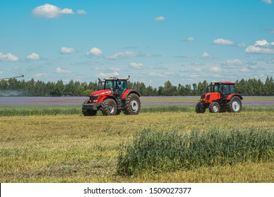 Russia Tatarstan Kazan June 10, 2019 tractors and combines work on a wheat field