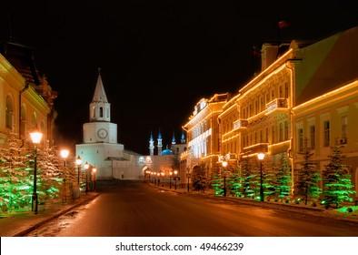 Russia. Tatarstan. Kazan. Kazan Kremlin and Illuminated Kul Sharif mosque at night