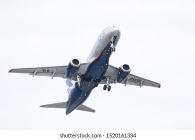 Russia Tatarstan Kazan October 1, 2019 spotting at the international airport of Kazan. Aeroflot airline plane flies in the sky
