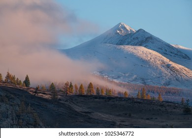 Russia. Thick morning fog in the Altai mountains