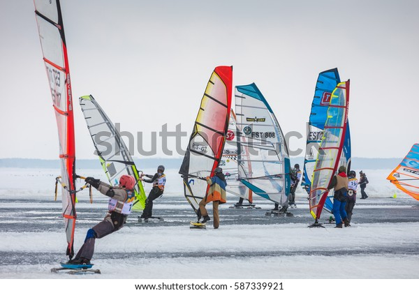 Russia, Togliatti - 25 February 2017: Snow kiting weekend on the frozen river Volga