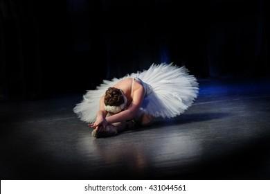 "Russia, Tomsk, December 6, 2015 - Girl in a ballet pack dancing ballet ""Swan Lake"" by Tchaikovsky. Final. Swan died"