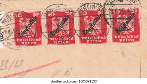 RUSSIA - TOPKI, 30 August 2020: stamp printed by Deutsches Reich, shows Definitives: New Imperial Eagle, circa 1928