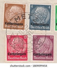 RUSSIA - TOPKI, September 5, 2020: stamp printed by Deutsches Reich, shows Paul von Hindenburg (1847-1934), 2nd President. Postmark of Metz Lorraine, circa 1941