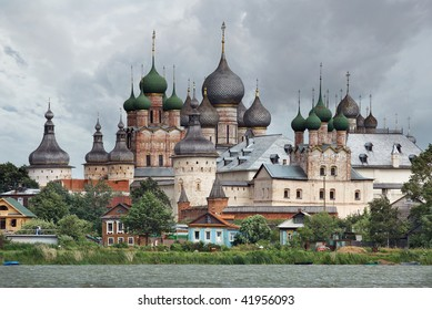 Russia. Town of Rostov the Great. View on Rostov Kremlin from Nero lake.