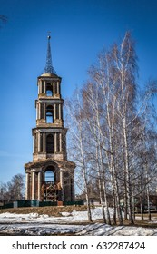 Russia,  Tula region, Bell tower of the destroyed Nikolayev church in Venev