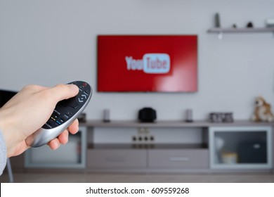 RUSSIA, Tyumen - January 08, 2017: YouTube app on smart TV. YouTube allows billions of people to discover, watch and share originally-created videos.