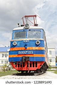 Russia, Ulan-Ude - August 03, 2018: Electric locomotive VL-60k-753. Square is 80 years of Ulan-Udensky branch of the East-Siberian railway