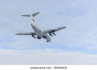 RUSSIA, ULUANOVSK-February 8, 2017, Il-76MD RF-78766,  military transport aviation of Russia.  Ulyanovsk-Vostochny airport.