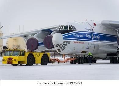 RUSSIA, ULUANOVSK-February 8, 2017, Il-76TD-90 RA-76950  airline Volga-Dnepr. Ulyanovsk-Vostochny airport.