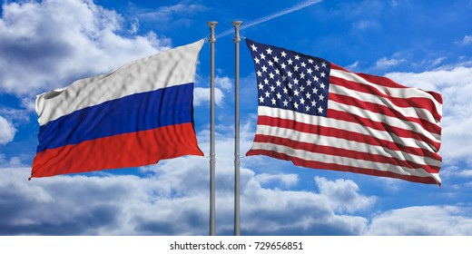 Russia and United States of America flags waving on blue sky background. 3d illustration