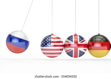 Russia, USA, Great Britain, Germany political war conflict concept. 3D rendering isolated on white background