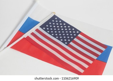 Russia and USA national flags