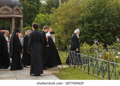 Russia, Veliky Novgorod, Yuriev monastery-July 14, 2020: Archimandrite ili (Nozdrin) of Yuriev together with the monastery's brethren approach the Spassky Cathedral
