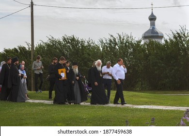 Russia, Veliky Novgorod, Yuriev monastery-July 14, 2020: Archimandrite Eli together with the brethren of the monastery, leave St. George's Cathedral after the prayer service