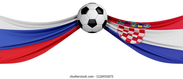 Russia versus Croatia soccer quarter final match. 3D Rendering