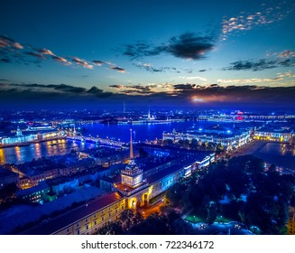 Russia. View of the Neva River and Admiralty building. Center of St. Petersburg. Petersburg in the evening. Vasilievsky Island.
