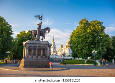 Russia, Vladimir - Circa August 2018: Monument to the founder of the city of Vladimir Prince Vladimir and Saint Fedor, installed on the observation platform of the park Pushkin
