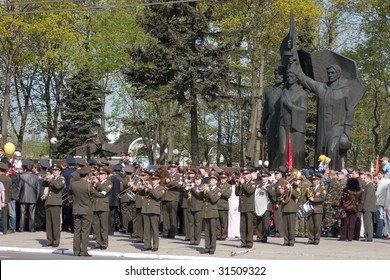 RUSSIA, VLADIMIR - MAY 9: Ceremonial parade at Vladimir Victory square dedicated to the 64th Anniversary of victory in Great Patriotic War  (World War II). Parade of victory in Vladimir, Russia on May 9, 2009