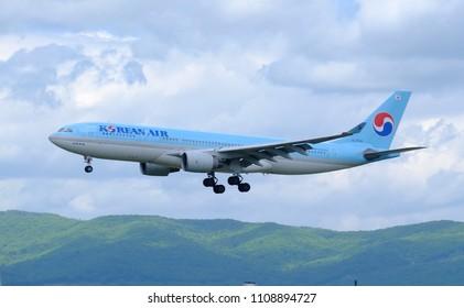 Russia, Vladivostok, 05/25/2018. Passenger airplane Airbus A330-200 of Korean Air performing approach operation at Vladivostor International airport.