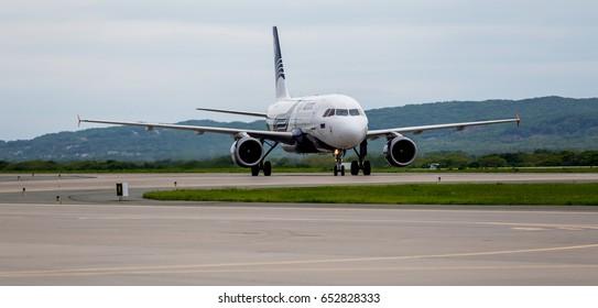 Russia, Vladivostok, 05/26/2017. Passenger airplane Airbus A319 of Aurora company on airfield.