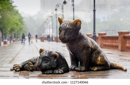 "Russia, Vladivostok, 06/30/2018. Bronze sculpture ""Little tigers"" on the embankment in city downtown. This sculpture is a gift of the World Wildlife Fund (WWF) for the city."