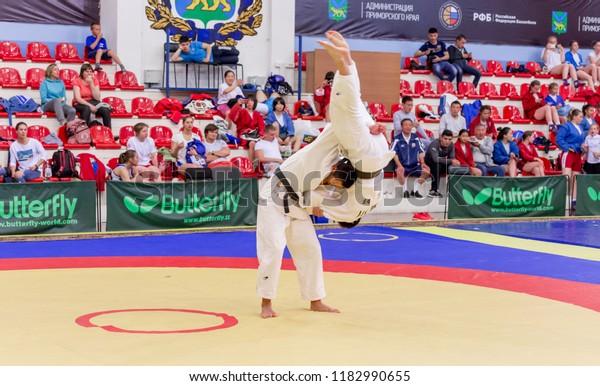 Russia Vladivostok 06302018 Judo Wrestling Competition Stock Photo