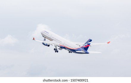 Russia, Vladivostok, 08/21/2019. Passenger airplane Airbus A330 of Aeroflot Airlines in the air. Aviation and transportation.