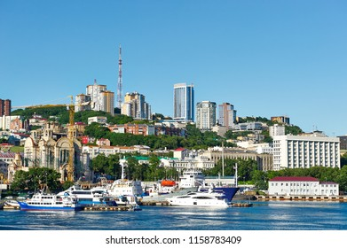 Russia, Vladivostok, August 16, 2018. View of the city of Vladivostok