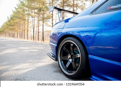 Russia, Vladivostok – CIRCA October, 2018:  Nissan Skyline GT-R, blue race car