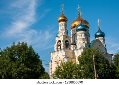 Russia, Vladivostok, July 2018: Cathedral of Intercession of  Holy Virgin