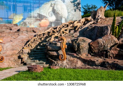 Russia, Vladivostok, July 2018: a ladder with sea horses in the territory of the Vladivostok Oceanarium