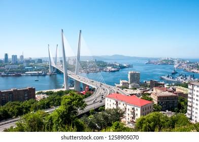 Russia, Vladivostok, July 2018: View of Golden Bridge over Golden Horn Bay of Vladivostok