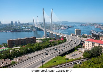 Russia, Vladivostok, July 2018: View of Golden Bridge over Golden Horn Bay of Vladivostok