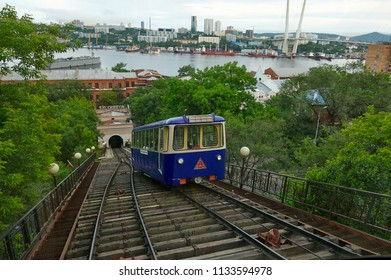 Russia, Vladivostok, June 11, 2018. Funicular of the city of Vladivostok