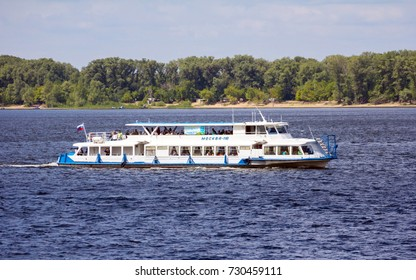 "Russia, the Volga River. The motor ship ""Moscow"" is walking along the river. July 20, 2014"