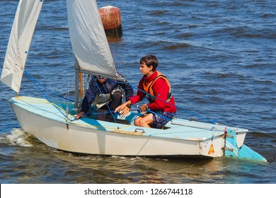 Russia, Volgodonsk - may 19, 2015: The competitions in sailing Swimming on sails