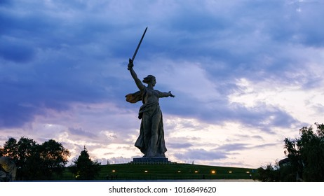 Russia, Volgograd - August 28, 2017: Sunset. Sculpture Motherland Calls! - compositional center of monument-ensemble to Heroes of Battle of Stalingrad on Mamayev Kurgan