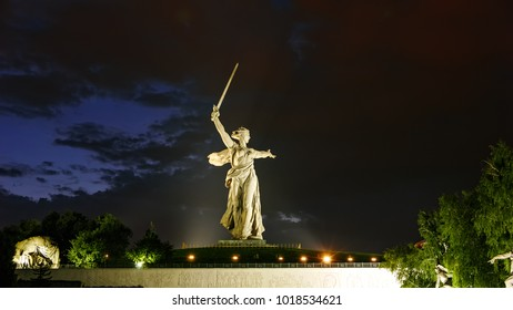 Russia, Volgograd - August 28, 2017: Sculpture Motherland Calls! - compositional center of  monument-ensemble to  Heroes of  Battle of Stalingrad on Mamayev Kurgan