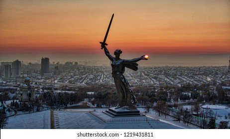 Russia Volgograd Mamaev Kurgan monument Motherland Mother calls winter sunset