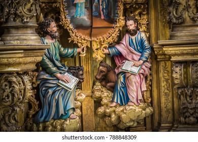 Russia Vologda Oblast Morozovitsa 07 21 2017 The fragment of 18th century wooden baroque iconostasis in the orthodox Troitse-Gledensky Monastery in the village of Morozovitsa near Veliky Ustyug