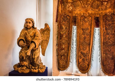 Russia Vologda Oblast Totma 08.12.2017 The ancient religious wooden sculpture from the Orthodox Church in museum of Church Antiquities (Dormition Church) in Totma in the north of Russia