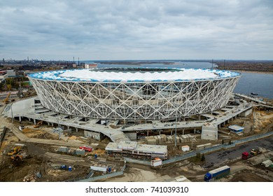 Russia, Volograd, 24 October 2017. Football stadium Volgograd Arena building for FIFA World Cup 2018 in Russia construction site - arerial view.